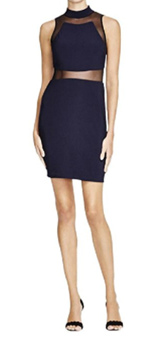 Aqua Womens Mesh Inset Sleeveless Clubwear Dress
