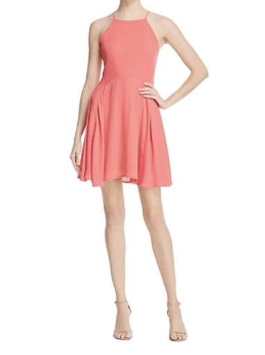 Aqua Womens Chiffon Halter Casual Dress