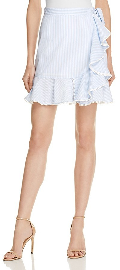 AQUA Striped Ruffle Skirt