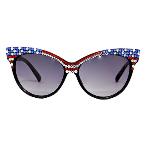 Crystal American Flag July 4th USA Independence Day Cat Eye Sunglasses