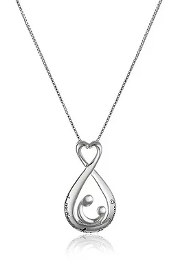 """Sterling Silver Open Teardrop """"A mother's Love is forever"""" Pendant Necklace, 18"""""""