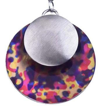 BRUSHED STERLING SILVER MULTI-COLORED PRINTED DROP NECKLACE BY AX JEWELRY