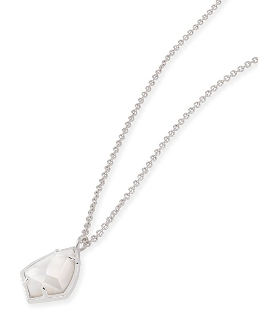 Kendra Scott Cory Pendant Necklace in Rhodium Plated and White MOP