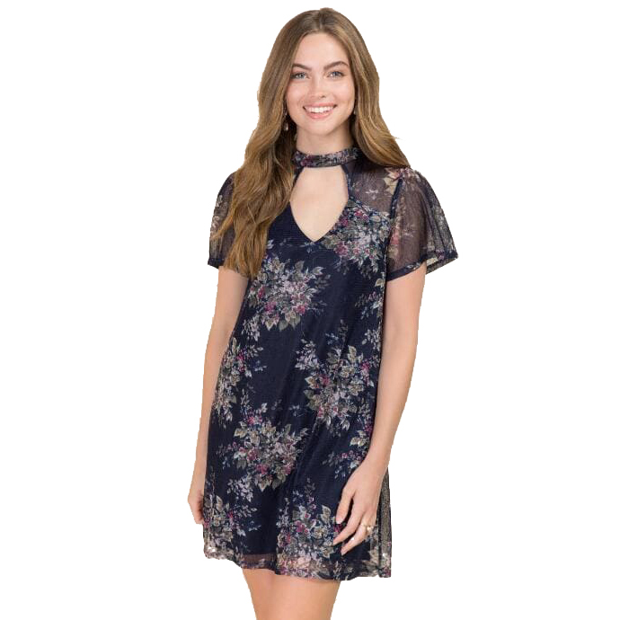 RONI GIGI FLORAL MESH SHIFT DRESS
