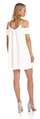JOA Women's Cold Shoulder Crinkled Flare Dress
