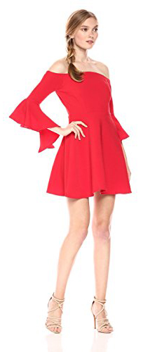 JOA Women's Bell Sleeve Off the Shoulder Dress
