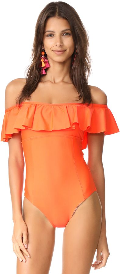 Splendid Women's Sun Sational Solids Off the Shoulder One Piece Swimsuit