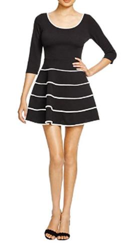 Aqua Women's Contrast Fit & Flare Casual Dress
