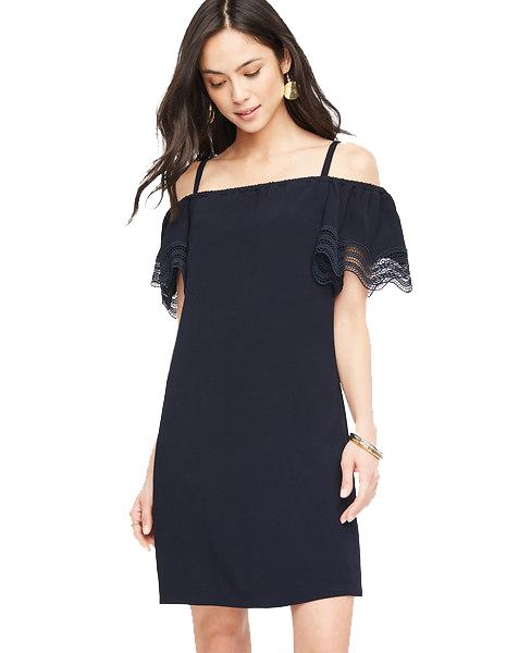 Ann Taylor Petite Cold Shoulder Eyelet dress