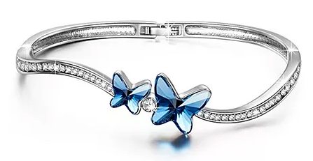 "Brilla Butterfly Bangle Bracelet Swarovski Elements Crystal Blue Women Fashion Jewelry ""Butterfly Dream"",7"""