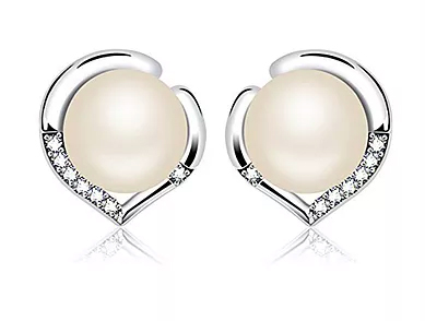"""J.Rosée Sterling Silver Freshwater Cultured Pearl Earrings """"The Pearl River"""" Heart Button Studs"""