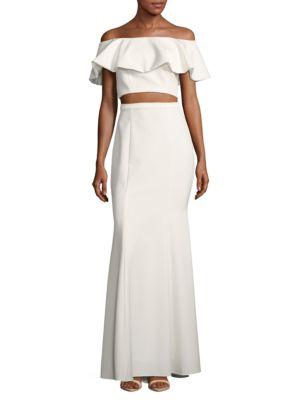 Xscape Two-Piece Ruffled Top & Skirt Set