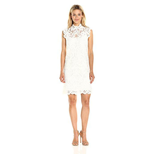 LAUNDRY BY SHELLI SEGAL Women's Mock Neck Venise Lace Dress