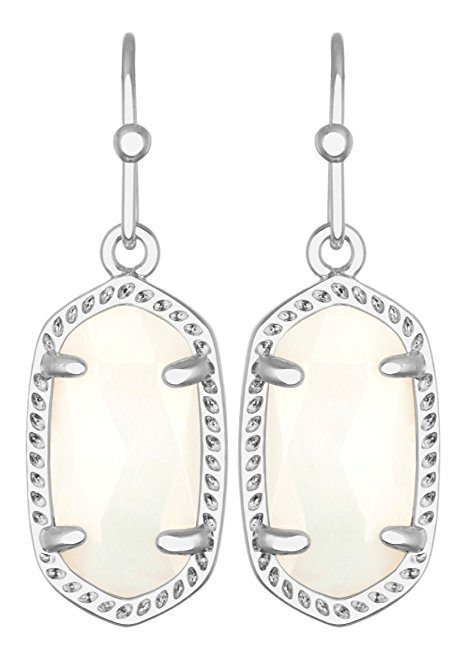 Kendra Scott Signature Lee Earrings in Rhodium Plated and White Mother of Pearl