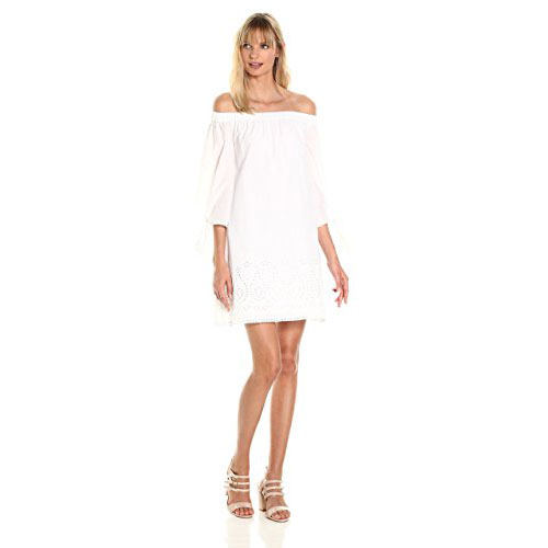 LAUNDRY BY SHELLI SEGAL Women's Off the Shoulder Tie Sleeve with Embroidered Hem