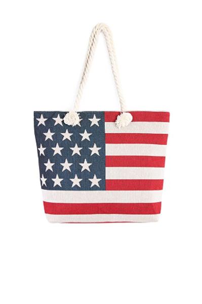Riah Fashion Women's American Flag Tote Bag