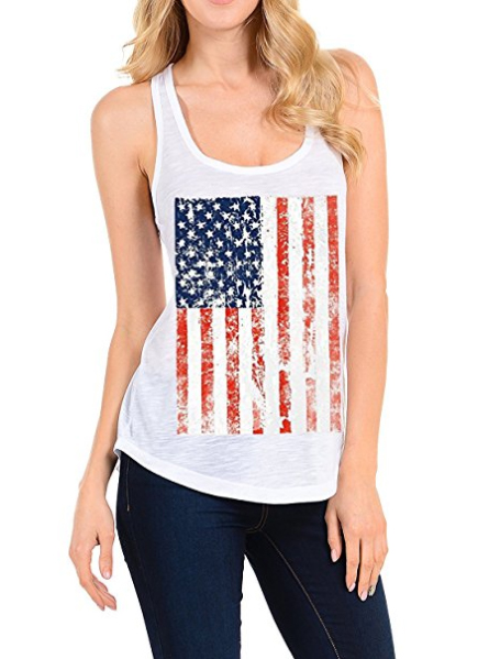 Lymanchi Women Casual Racerback Vests Relaxed Fit Flag Printed Workout Tank Tops